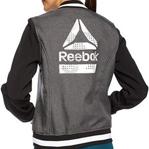 Reebok Logo Gray Softshell Bomber Jacket
